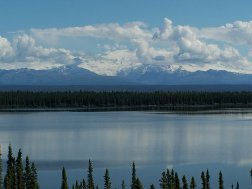 Mount Wrangell, seen from the Richardson Highway near Copper Center. Note steam plume from the summit.