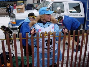 DeeDee Jonrowe at the start of the Iditarod