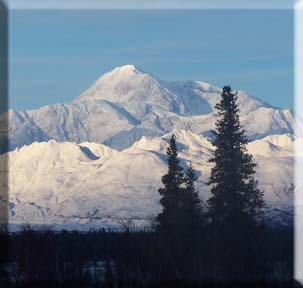 Winter picture of Mt. McKinley taken in Denali State Park near Trapper Creek. This location is about 100 miles south of the entrance to Denali National Park.